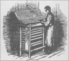 A typesetter, or compositor, works at his type stand in this mid-nineteenth century engraving.