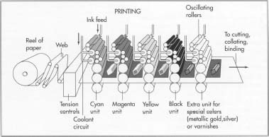 Printing is often done on an offset lithography printing press, in which the paper is fed through rolls that are exposed to the proper ink. If colored ink is necessary, either for text or for photographs, each of the four major colors is offset onto its own set of rollers.