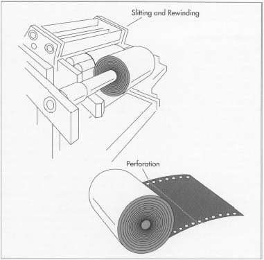 The final step in carbon paper manufacture is perforation. This is performed automatically by a spot carbonizer-processing machine and includes both the perforations between sheets of carbon paper and the tiny holes (produced by slitting) along the edges of the paper.
