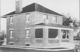 A Foursquare-style house design, appearing in the Radford Architectural Company's 1908 catalog Cement Houses and How to Build Them. It was one of hundreds of cancrete block house designs offered by the Radford company. They estimated that this design could be built for about $2,250.00, much less than traditional stone masonry houses of the time. (From the collections of Henry Ford Museum & Greenfield Village.)