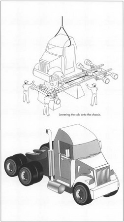 "In most plants, the trucks move along an assembly line as components are added by different groups of workers at successive workstations. The truck starts with a frame assembly that acts as the ""backbone"" of the truck and finishes with the completed, fully operational vehicle being driven off the end of the assembly line under its own power."