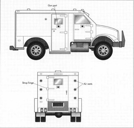 An armored car is basically a large, sealed metl box and is thereby very hot inside. The windows do not roll down for obvious reasons, so most trucks have four roof vents with a baffle to obstruct any direct lines of fire into the truck. The gun ports installed in each door employ a spring-loaded plate that must be slid open from the inside to prevent assailants from using them to fire into the vehicle.