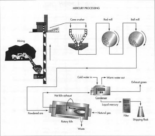 In order to extract mercury from its ores, cinnabar ore is crushed and heated to release the mercury as a vapor. The mercury vapor is then cooled, condensed, and collected.