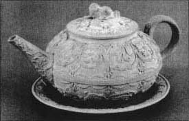 A stoneware teapot mode by Jonah Wedgwood and Co. of Staffordshire England. (From the collections of Henry Ford Museum & Greenfield Village, Dearborn, Michigan)
