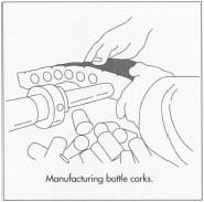 Cork intended to be used as bottle corks is first softened by steam and then cut into strips. Next, the strips are fed through a machine that punches hollow metal tubes through them, removing cylinders of cork.