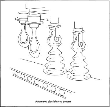 Bulk quantities of glass are melted and flowed in a ribbon over a series of molds.