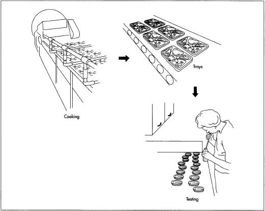 A unique adaptation of frozen food technology, the process for producing TV dinners is highly automated and can can be broken down into three stages. First the food is processed and prepared. Next, it is loaded into the packaging and then frozen.