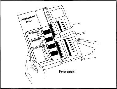 A typical data punch system used to cast votes in an election.