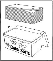 An example of a typical box of baby wipes.