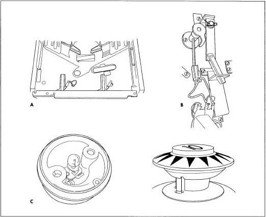 A. Playfield. B. Flipper mechanism. C. Pop bumper.