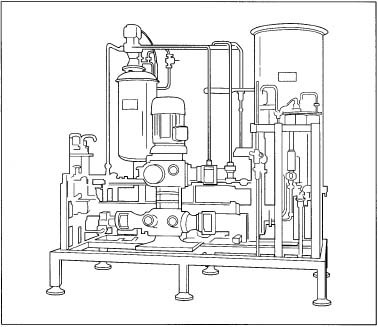 An example of continuous flow machinery used to make salad dressing.