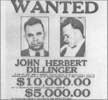 A wanted poster of John Dillinger.