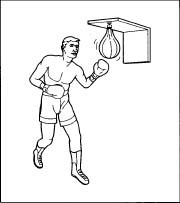 A boxer practicing with a speed bag.