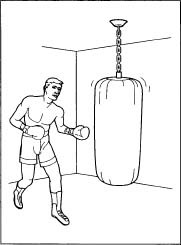 A boxer practicing footwork with a heavy bag.